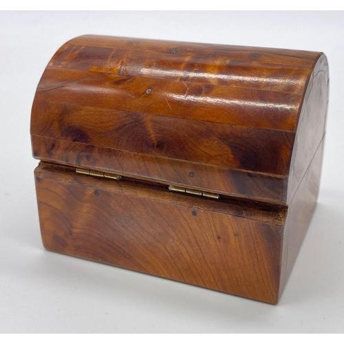 608 - Walnut TRINKET BOX.  8cm X 6.5cm x 6.5cm high.