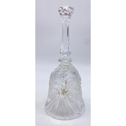 784 - Lead crystal HAND BELL. Made in Western Germany.  20 cm tall x 8 cm wide.