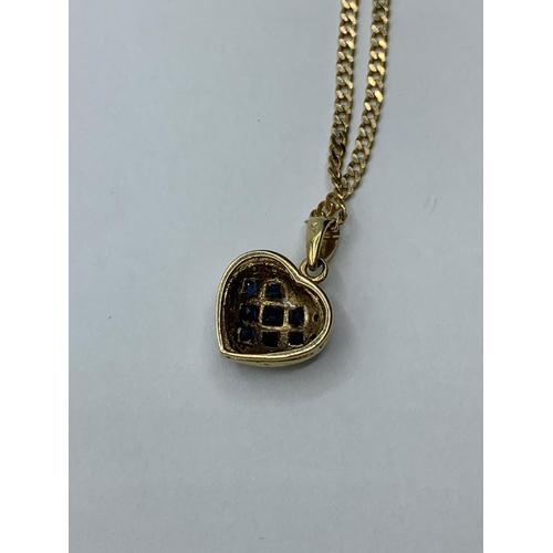 3 - 9CT YELLOW GOLD DIAMOND & SAPPHIRE HEART PENDANT ON CHAIN 5G