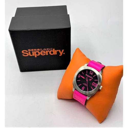 34 - SUPERDRY PINK DIAL AND STRAP WATCH BRAND NEW WITH BOX SYL115P