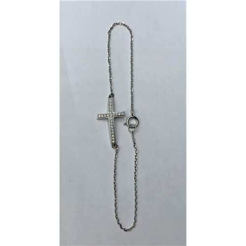 406 - SILVER C/Z STONE SET CROSS ANKLET, WEIGHT 1.2G