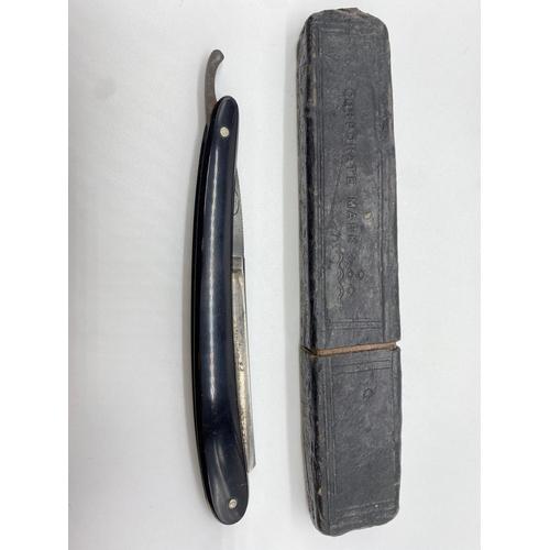 592 - Retro 1920's CUT THROAT RAZOR, RAZOR BLADE CASE and MANICURE SET.  includes a quantity of double edg...