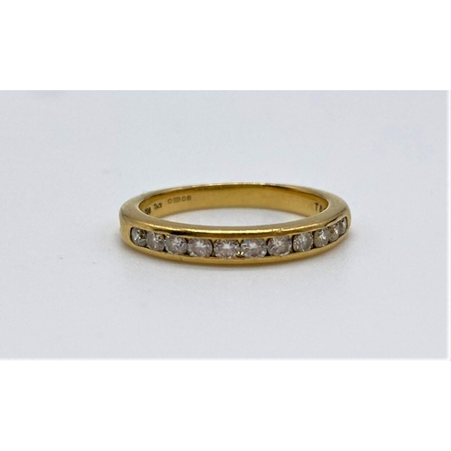 662 - 18ct gold 1/2 Eternity RING with diamonds.  3.8g   Size N