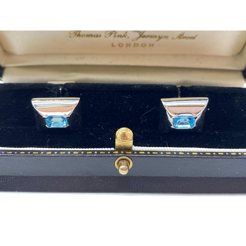 686 - Pinks of Jermyn Street.  BOXED CUFFLINKS with blue stones.