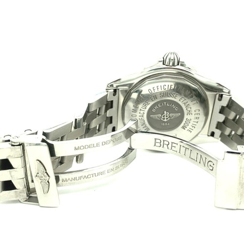 16 - Breitling Galactic Automatic Chronometer Original Factory Diamond Set Bezel and Dial. Mother Of Pear...