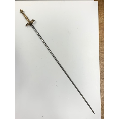 606 - Lady's ornate brass handled RAPIER.  overall length 94cm.