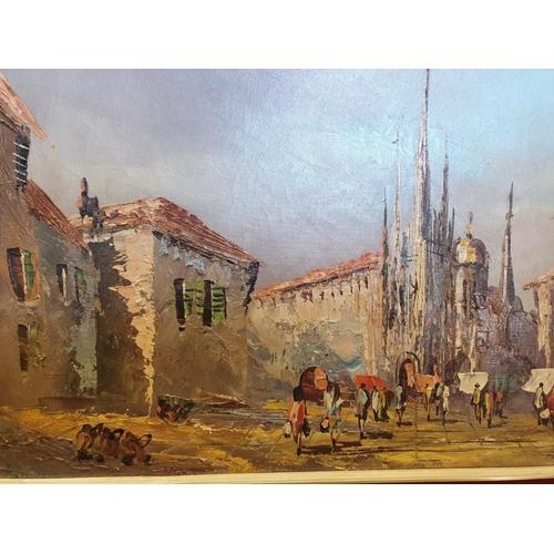 695 - Vintage oil on canvas street scene.  90cm x 50cm.