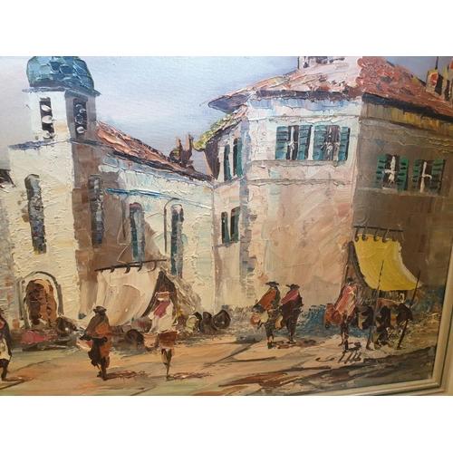 696 - Vintage oil on canvas street scene.  107cm x 57cm