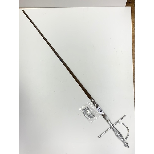 735 - Ornate semi-hilt RAPIER.  Needs repair.