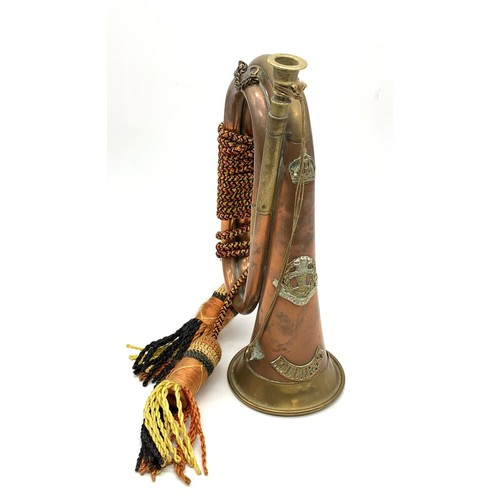 706 - Middlesex regimental brass and copper bugle with regimental lanyard