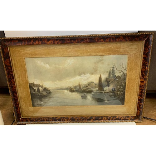 723 - A vintage rare personally signed lithograph by J.W. Gozzard, of a Dutch river scene. circa 1890. Dim...