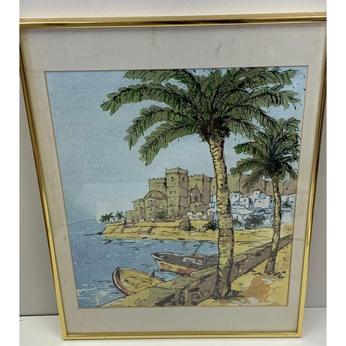 724 - A coastline scene in watercolours by Andre Bay, size 58x43cm