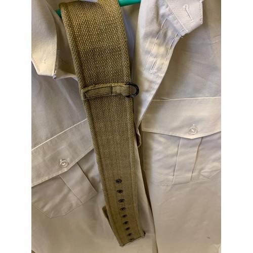730 - Queen regimental army issued shirt with khaki webbing belt