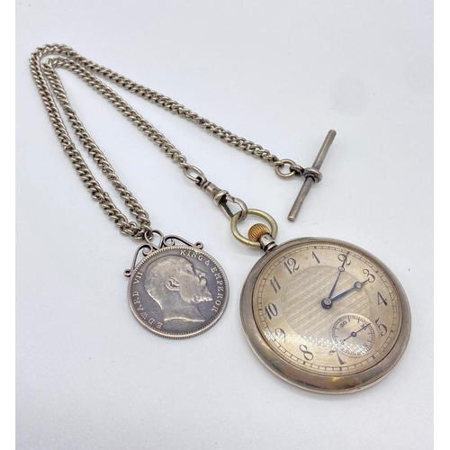 708 - Antique Silver pocket watch and Albert chain with 1905 silver rupee on it