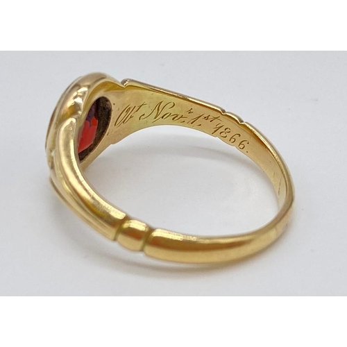 713 - Antique 15ct gold and garnet ring with inscription in band dated 1866, weight 4.3g & size N