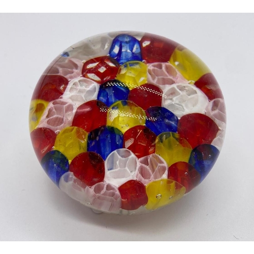722 - Multi coloured glass paper weight, weight 237g & diameter 6cm