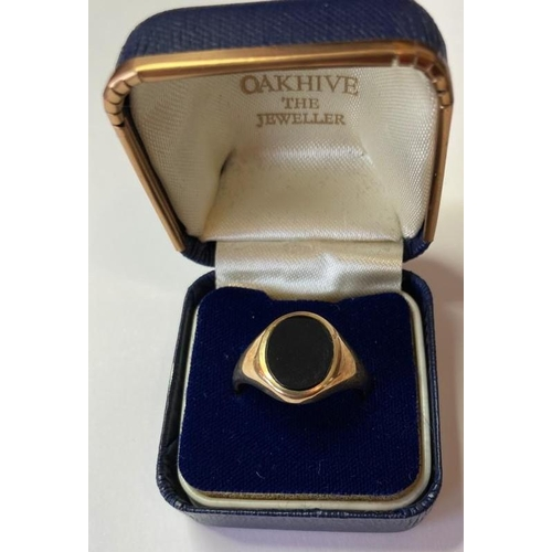 746 - Gents 9ct Gold and Onyx signet Ring. Black Onyx. Size R/ R 1/2, 4.1 grams approx, Full Hallmark for ...