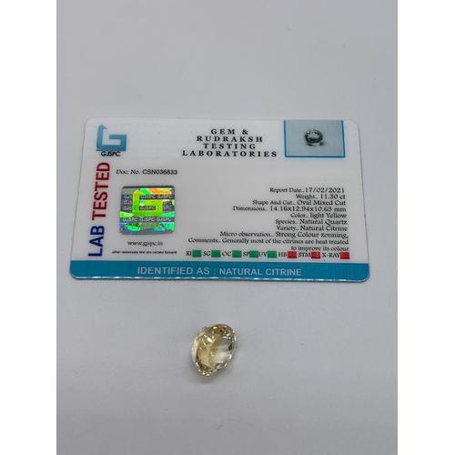 822 - 11.30ct Citrine Gemstone GJSPC certified