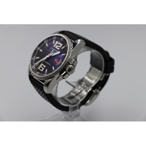 1 - Chopard Gran Turismo XI watch with diamond bezel Skeleton back with box and papers, in good working ...