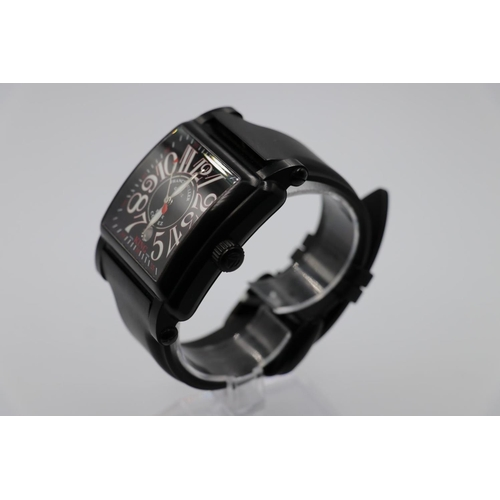25 - Franck Muller black Cortez king watch, black vanilla scented strap squared face, no box/papers, good...