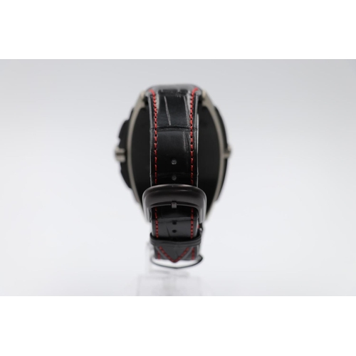 31 - Franck Muller titanium conquistador Grand Prix watch, black leather strap with red stitching, no box...