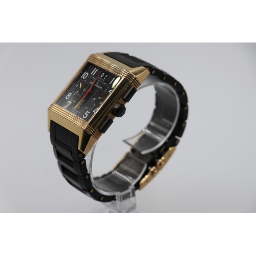 35 - Jaeger le Coultre rose gold Watch, square face reverse skeleton back and black rubber strap, SERIAL ...