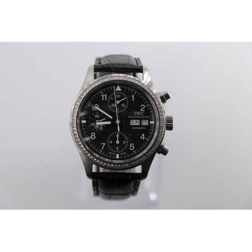 4 - IWC Chronograph watch custom diamond bezel and black leather strap, no box/papers, in good working o...
