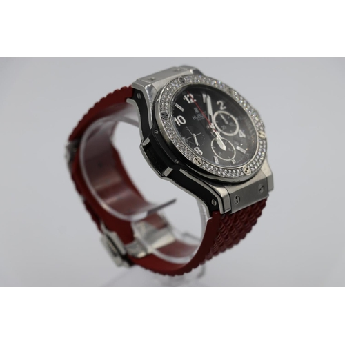 69 - Hublot Big Bang watch with red rubber strap original diamond bezel, owned by an ex Chelsea footballe...