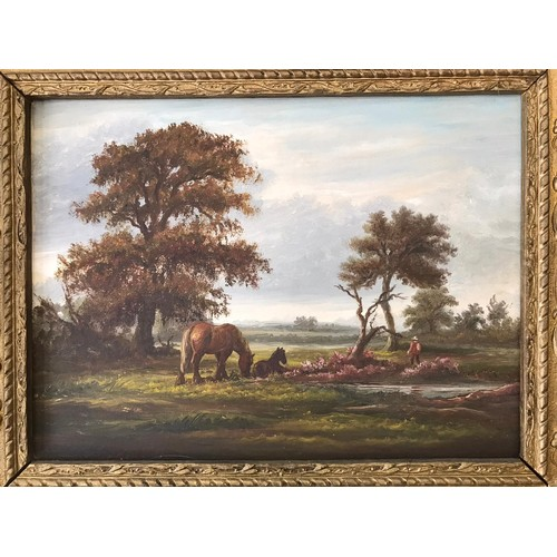 820 - Grazing Horses Oil Painting on Panel circa 1900 in Gilded Floral Art Nouveau Frame. Panel measures 3...