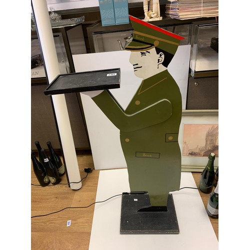 162 - Wooden HARROD's MAN in uniform with tray.    180cm tall.
