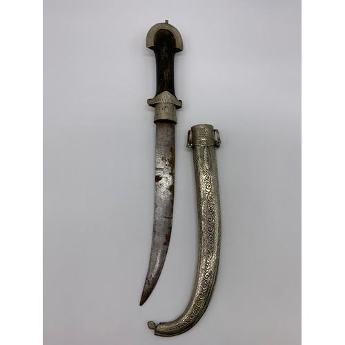 621 - Ornate Sikh CEREMONIAL DAGGER circa 1880.  40cm decorated scabbard, wooden handle.