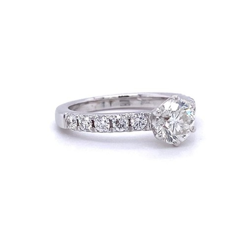 356 - 18ct white gold ring, with 1.01ct centre diamond (G/sI2) and further 0.5ct diamond on shoulder (G/h,...