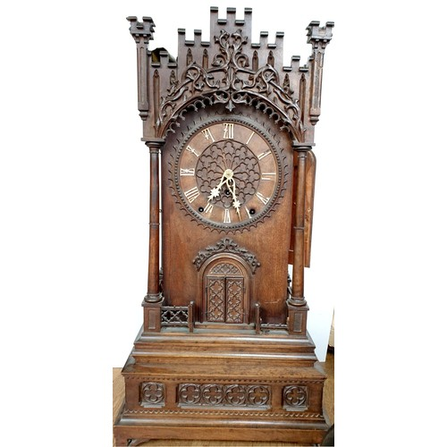 719 - Antique Furtwangen chiming musical trumpeter clock by Emilian Wehrle (1832-1896) -famous for his mus...