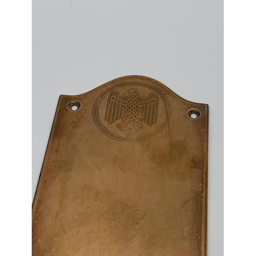 115 - 3rd Reich Brass Door Finger Plate. This would been on the door of a Government Building