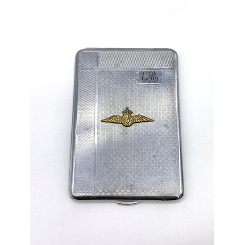 201 - WW2 Period Silver Plated Cigarette Case With R.A.F Pilots Wings and initials. Made in England.