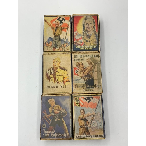 236 - 6 x Hitler Youth Match Boxes with contents. As sold by members of the HJ on street corners to raise ...