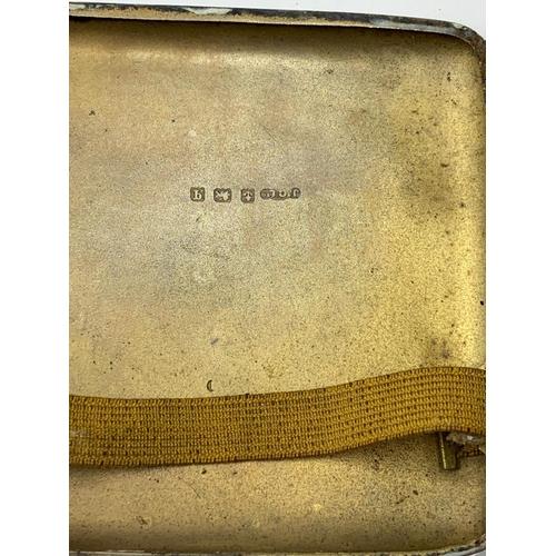 27 - WW1 1915 Hallmarked Silver Cigarette Case with Silver Australian Rising Sun Badge.