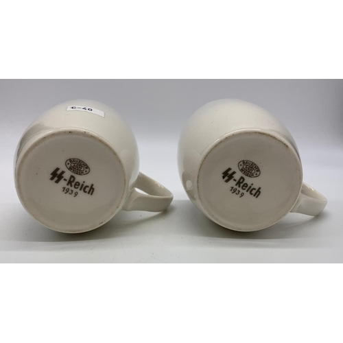 39 - 2 x Waffen SS Coffee Cups Dated 1939.