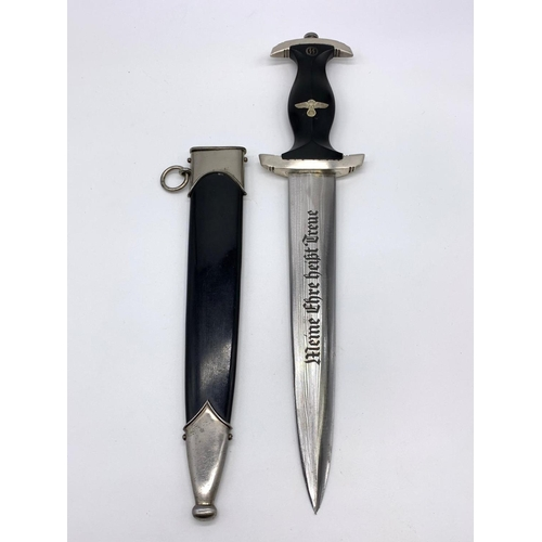 6 - Enlisted Man's SS Dagger with transitional period makers marks of Eichorn and Rzm. Nice tight fit in...