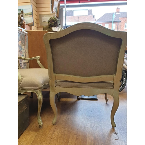 732 - Pair of Queen Anne style chairs in silver painted wood and grey upholstery, W77cm x H90cm