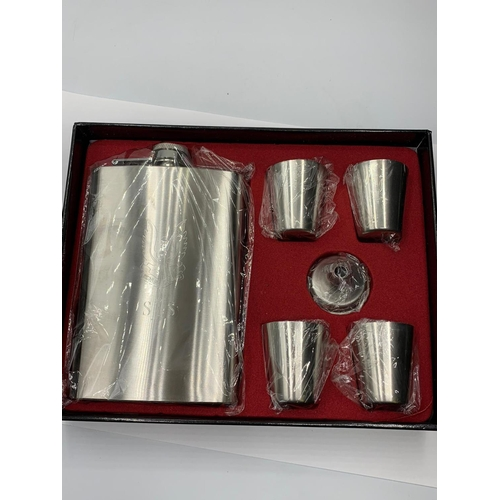 780 - S.A.S Hip Flask Set. Hip flask & cups engraved with the Special Air Service Logo.