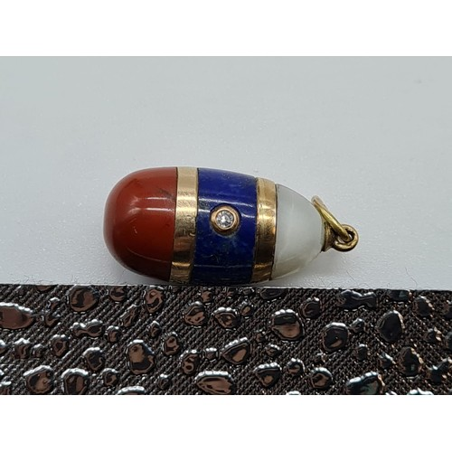 17 - Antique 14ct gold three stone Russian Imperial flag miniature Easter Egg PENDANT, St Petersburg.  Di...