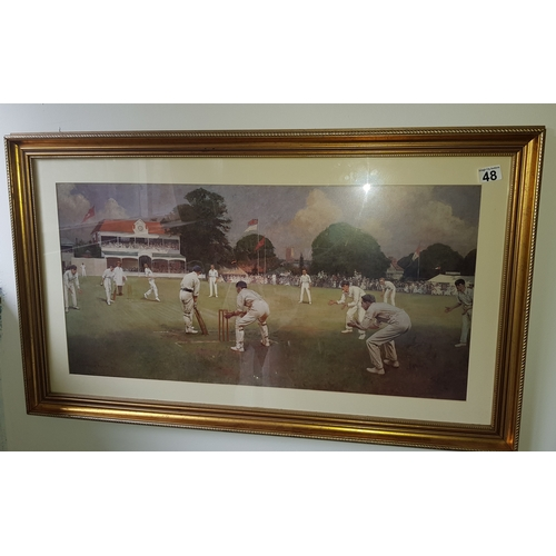 48 - Old Cricket Picture Print of match is early 1900 between Lancashire & kent...