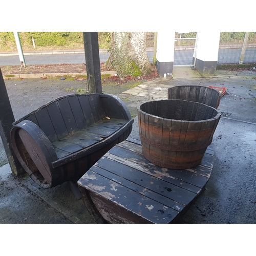 49A - large wooden barrel Patio Set...