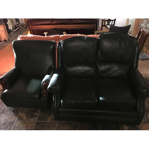 17 - 2 seater Green Sofa + single chair...