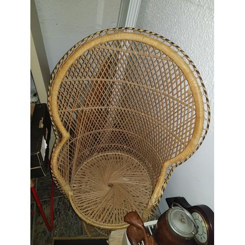 15 - wooden chair-wicker style...