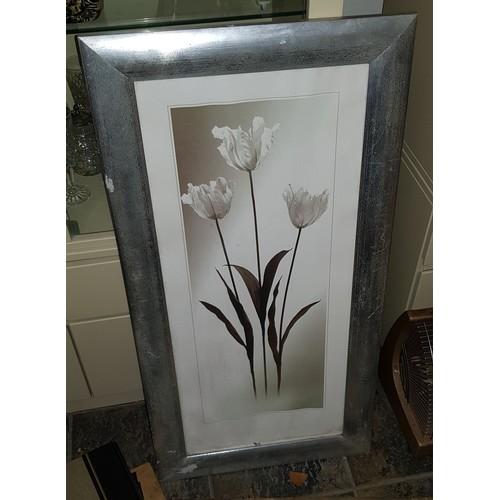 46 - large silver framed  flower print...
