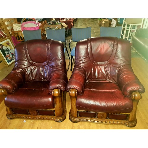 9 - ox blood leather sofa and 2 chairs...