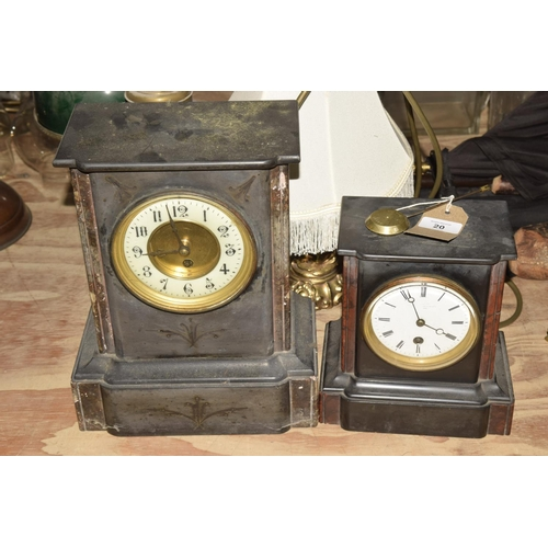 20 - A Victorian marble and slate mantle clock   Having a 13cm gilt metal and enameled dial painted with ...