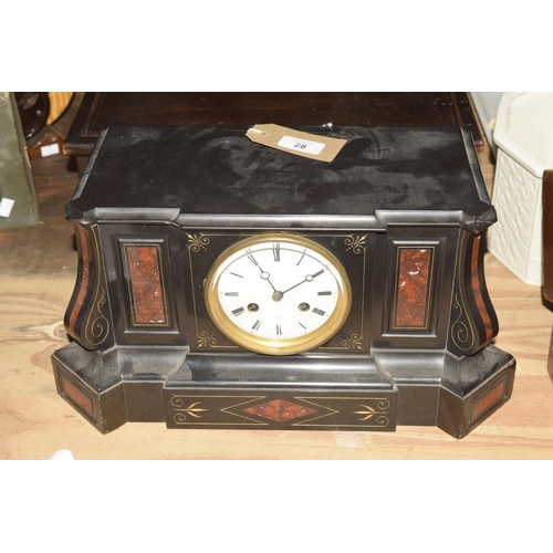 28 - A Victorian slate and rouge marble architectural mantle clock  The substantial case inset with rouge...